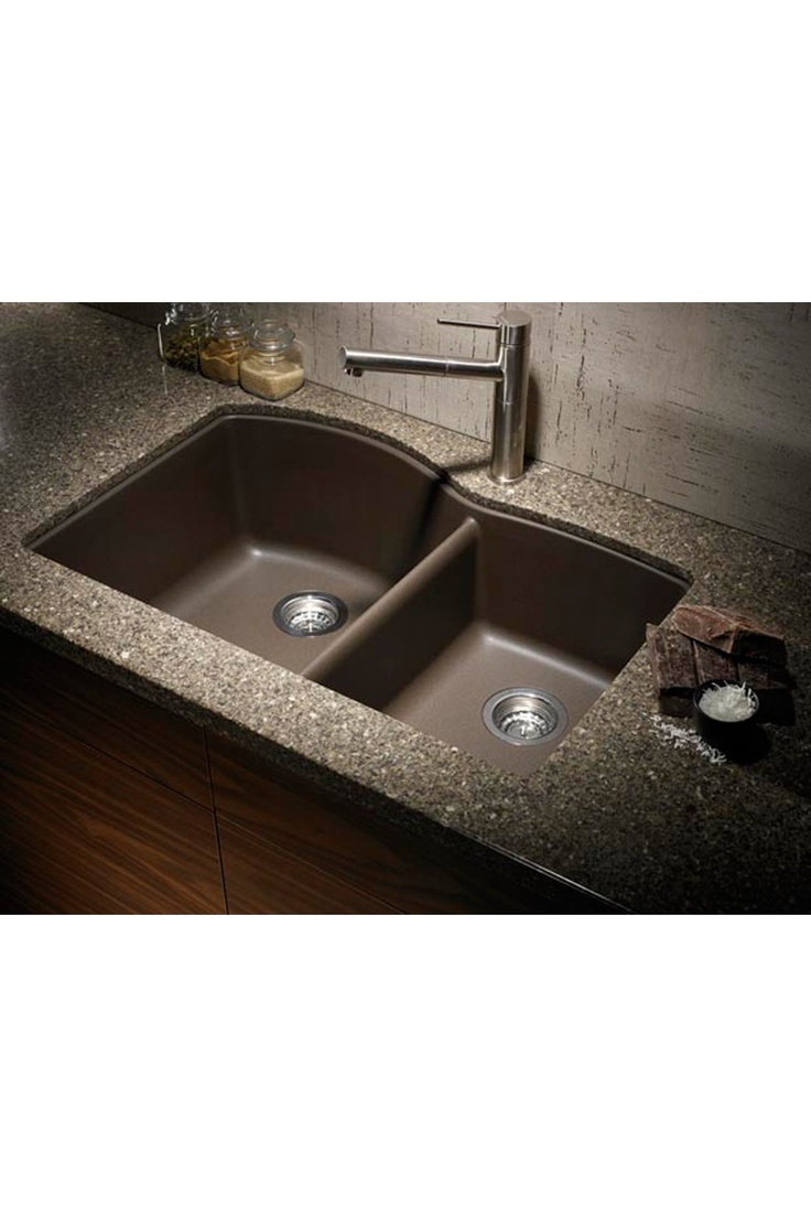 Quartz Undermount Kitchen Sinks Part - 19: Blanco Silgranit 1 3/4 Basin Undermount Kitchen Sink - Cafe Brown