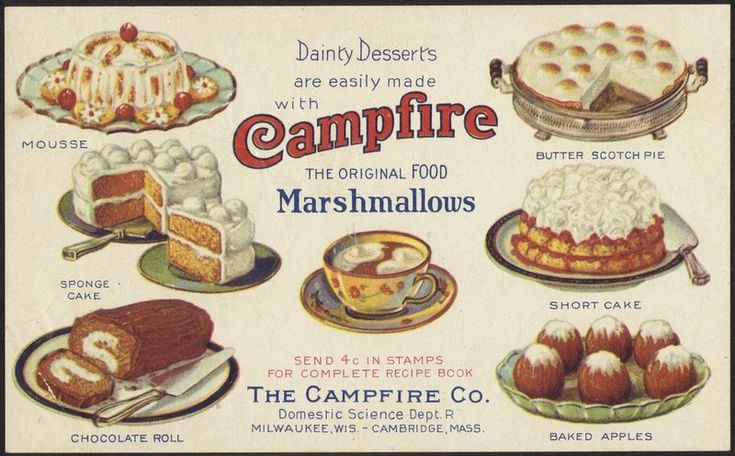 Some of the recipes from an early Campfire marshmallow recipe booklet.