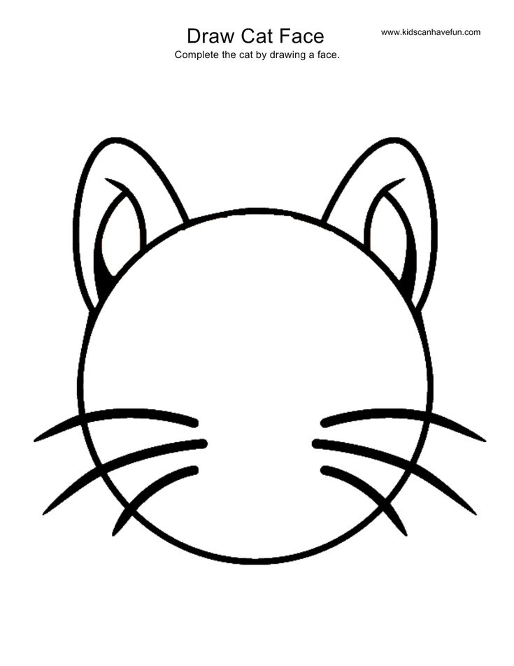 Draw Cat Face activity, more drawing pages of animals, sports, scenes, monster, holidays, doodles and more