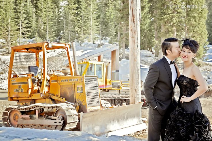 Little Collins Photo Conceptual photo prewedding / engagement in United States. Gown by Melta Tan and Wedding boutique Chicago and Seattle All about Cow, farm, bean, trees, pier, horse carriage and train