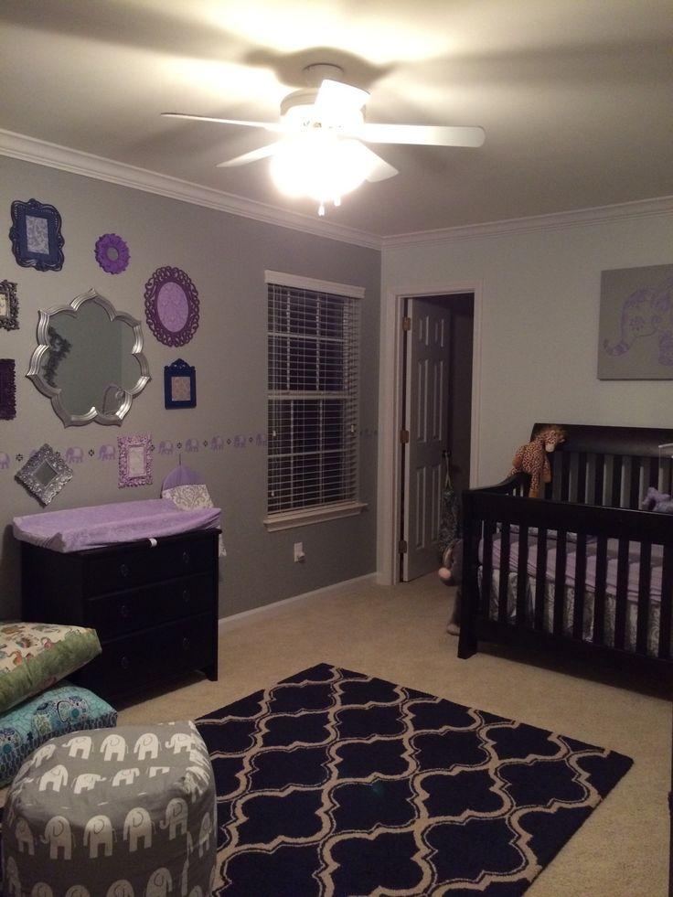 Our baby girl 39 s nursery in lavender gray and navy Navy purple color
