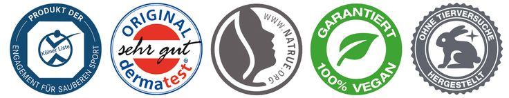 """* Zertifiziertes Naturprodukt,    trägt das NaTrue-Siegel * Dermatologisch getestet mit   """"sehr gut"""" von Dermatest® * Zertifiziert von der Sporthochschule Köln;   Siegel der Kölner Liste für sauberen Sport * Garantiert 100 % vegan * Ohne Tierversuche hergestellt   PZN: zugelassen für Apotheken Durch das Gütesiegel """"Zertifiziertes Naturprodukt auf für Refomhäuser zugelassen."""