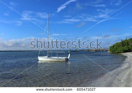 Sailboat anchored near the shore in Tampa Bay, Florida