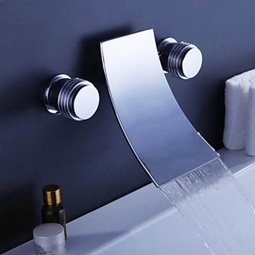 Waterfall Widespread Contemporary Bathtub Faucet (Chrome Finish) - FaucetSuperDeal.com