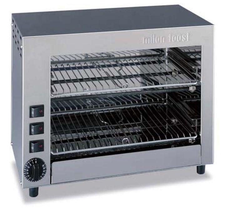 Máquina tostadora de tipo industrial parecida a las que vemos en cafeterías y hoteles, ideal para tostar diferentes tipos de masas y grosores.Marca Milan Toast.
