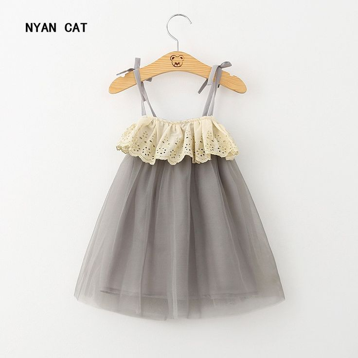 DHL EMS Free shipping Kids Toddlers Girls Suspender Tulle Dress Children Clothes Grey Dress #Affiliate