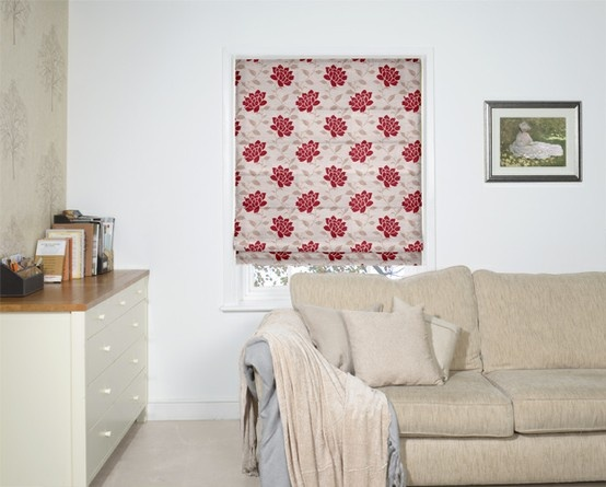 Big And Bold Red Flowers Make For A Beautiful Roman Blind.
