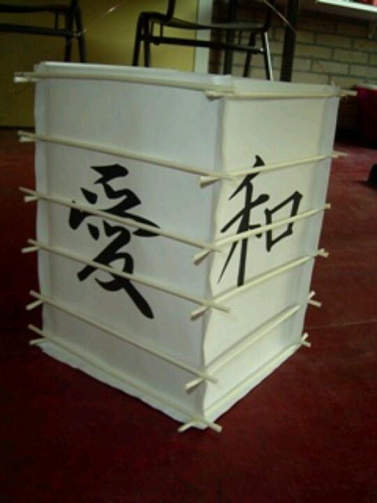 Japanse lampions van gewoon papier met Japanse tekens erop. Daaromheen een raamwerk van papieren rietjes en daarna is het papier in de olie gezet. Het ziet er schitterend uit!
