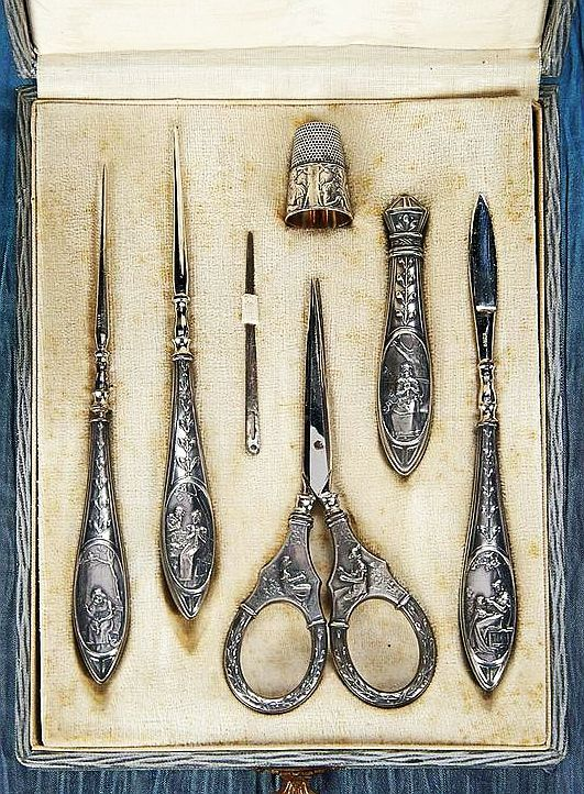 German Sewing Necesaire with Silver Tools Depicting the Stages of a Woman's Life.