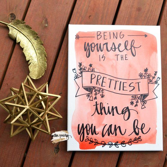 Be Yourself Canvas Quote Art Canvas Wall Art Coral Wall Etsy Girly Wall Art Wall Art Quotes Diy Canvas Art Quotes