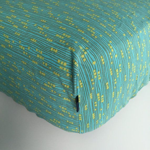 FITTED CRIB SHEET  Green with Yellow Abbaco Dots  by Beakyriboo