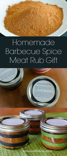 Homemade Barbecue Spice Meat Rub Gift ~ A versatile and flavourful meat rub presented can be used on a variety of roasted or grilled meats. / timewiththea.com