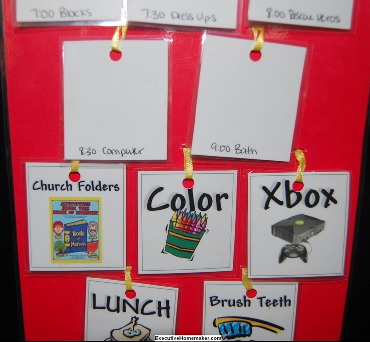 Printables for 3-5 year-old's schedule PLUS weekly schedule example from a mom of a child with Autism and a child with ADHD. Great resource for making up a visual schedule for young ones!
