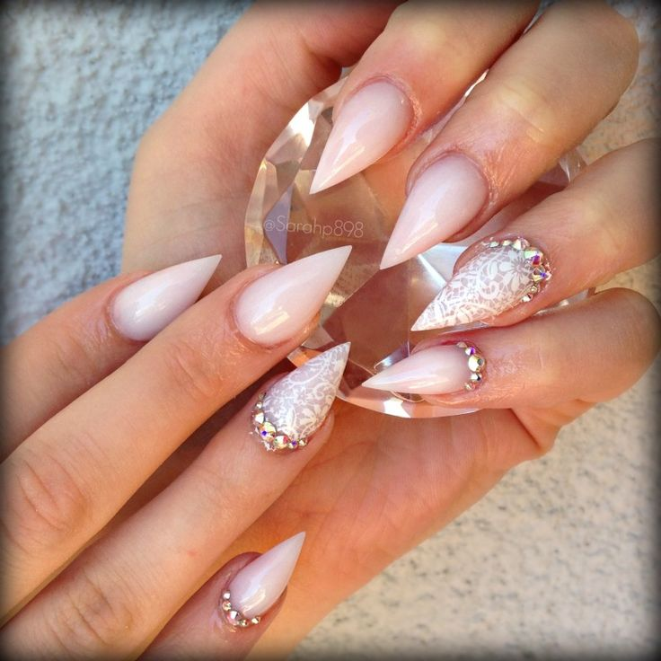 Natural white pointy nails with lace and crystals. Love ...