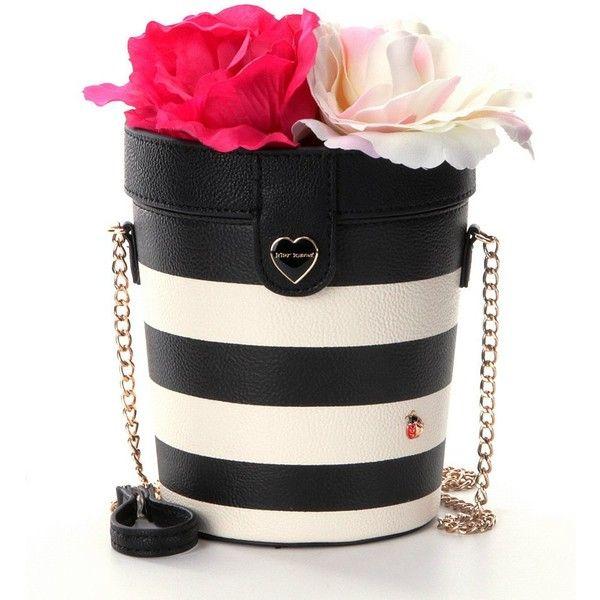 Betsey Johnson Flower Pot Striped Cross-Body Bag ($76) ❤ liked on Polyvore featuring bags, handbags, shoulder bags, striped shoulder bag, crossbody shoulder bags, betsey johnson purses, betsey johnson handbags and stripe handbag