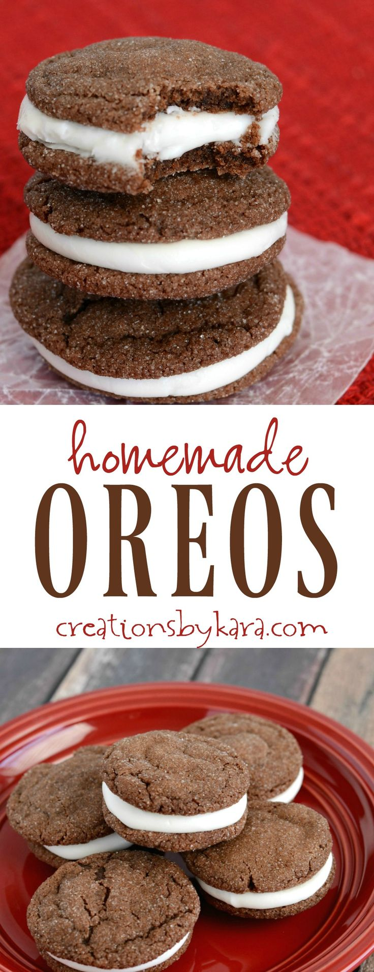 Soft, chewy, and filled with cream cheese frosting, these homemade Oreo Cookies are always a crowd pleaser. A favorite cookie recipe!