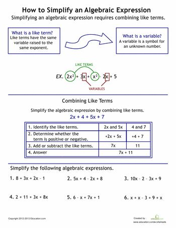 Worksheets: How to Simplify Algebraic Expressions