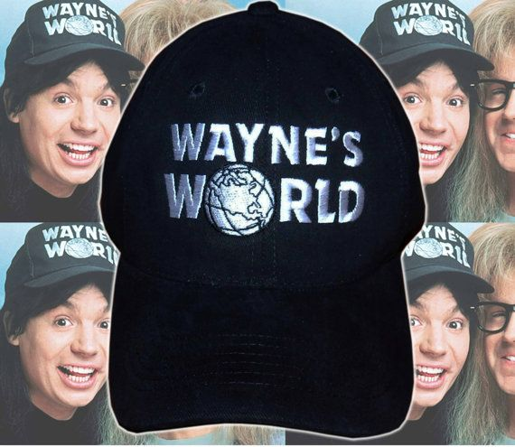 Waynes World Hat Garth Wayne Campbell Wayne's Halloween costume embroidered logo black cap