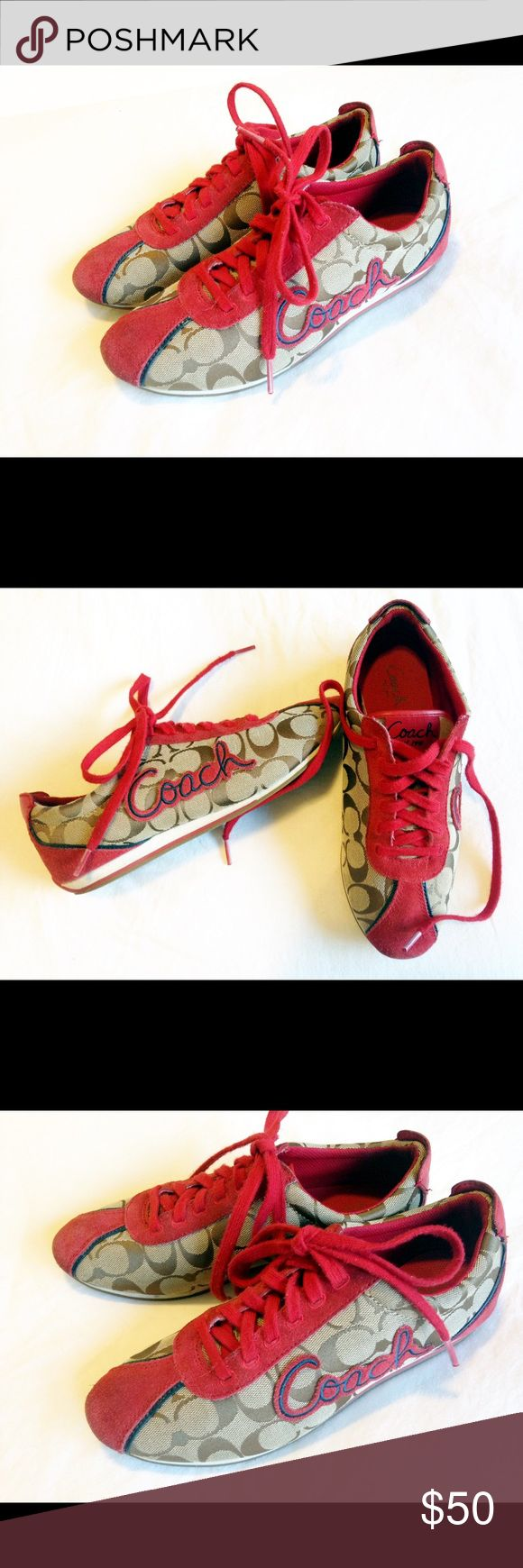 Coach tennis shoes, style Devin, size 8.5 Coach tennis shoes with lots of wear to go, Iconic red/navy, style is Devin A1715. Size 8.5. Comfortable and stylish all in one, would be an awesome Summer staple! Plus the red really  does make them stand-out Coach Shoes Sneakers