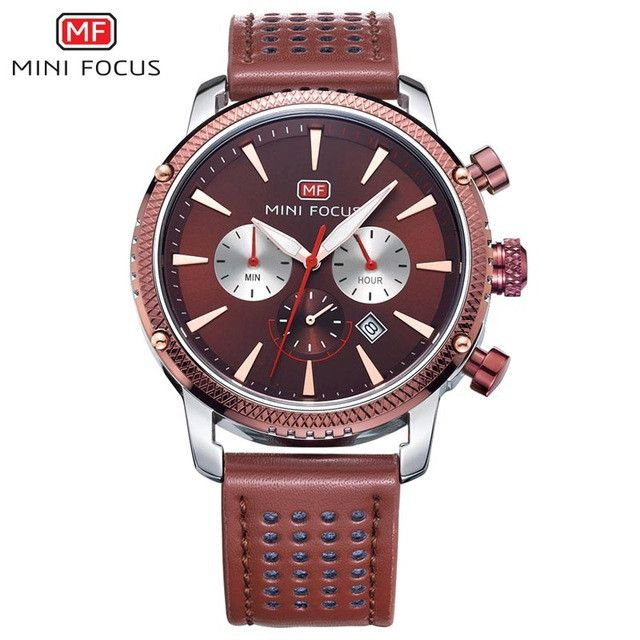 MINIFOCUS New Brand Leather Analog Chronograph Stop Watch Men Military Army Quartz Mens Watches Top Brand Luxury Male Clock