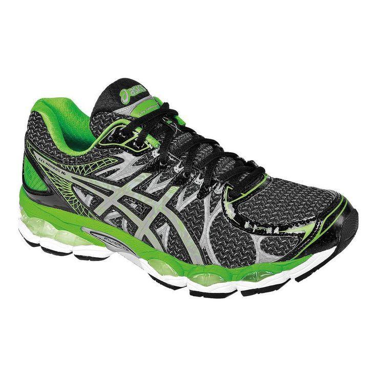 Mens ASICS GEL-Nimbus 16 Lite-Show Running Shoes Black/Green/Oxford-11 D