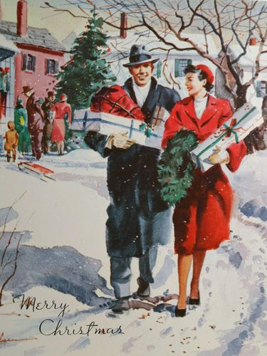 1950s Couple with Gifts Vintage Christmas Card: Replicate the photo with a couple to personalize it. Very cute for newlyweds on their first Christmas.