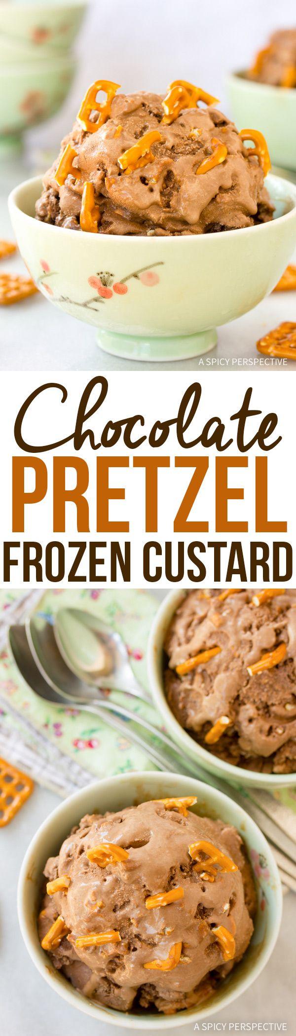 Salty-Sweet Chocolate Pretzel Frozen Custard Recipe #icecream #summer via @spicyperspectiv