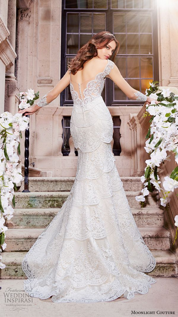 MOONLIGHT COUTURE Spring 2016 #wedding dresses lace strap v neckline lace embroidery slim cut fit flare trumpet beautiful mermaid gown H1297 back #bridal:
