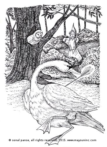 Pen and ink drawing from 'The Swan and the Owl' from 'The Panchatantra Retold: Part 1 - Mitra Bheda' - https://www.amazon.com/dp/B00RO7BCTU
