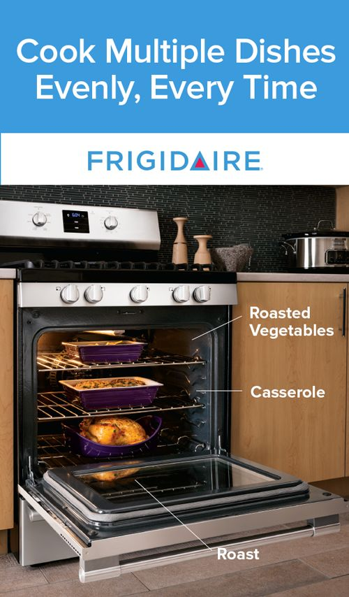 Get consistently even results when baking multiple dishes at once. The Frigidaire Range features convection technology that uses a fan to continually circulate air throughout the oven. To bake your favorite meals with convection, reduce the cooking temperature by 25 degrees and follow recipe times.