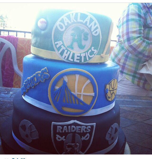 Best cake ever love for oakland sports #warriors #a's #raiders