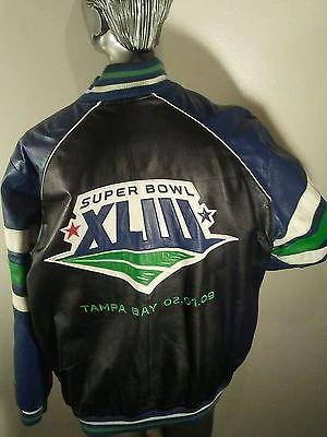 Men's XXL Leather Super Bowl 43 XLIII Jacket Steelers Cardinals Collectable Coat