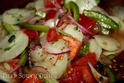 ... salad, gets its name from the contrast between the red onion, green