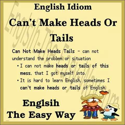 I can't of the _______ this mess. 1. understand 2. make heads or tails #EnglishIdioms