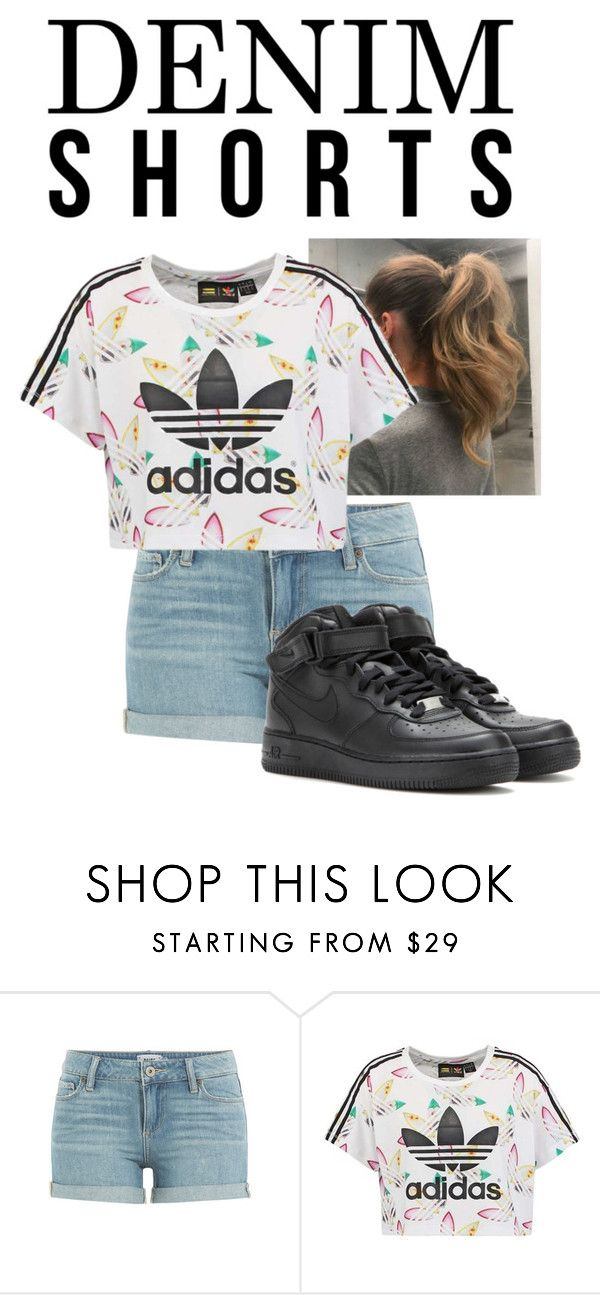 """Denim Shorts"" by bintiyussuf ❤ liked on Polyvore featuring Paige Denim, adidas Originals, NIKE, jeanshorts, denimshorts and cutoffs"