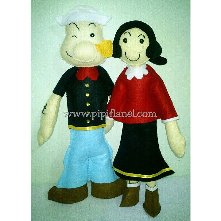 Popeye and olive oil Feltdolls made by Pipi Flanel.. Wanna see our feltdolls collection? Please visit our website at www.pipiflanel.com thank you :)