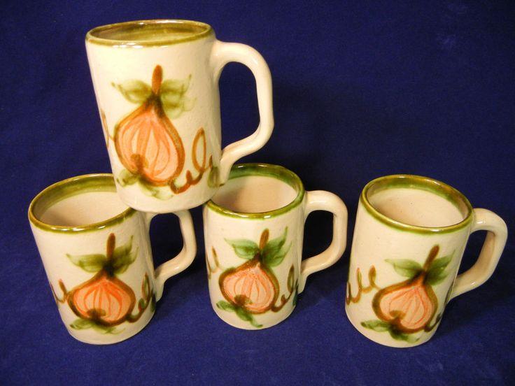 Set 4 John B Taylor Harvest Pear Mugs JBT Louisville Stoneware 4.5 Inch Made USA #LouisvilleStoneware