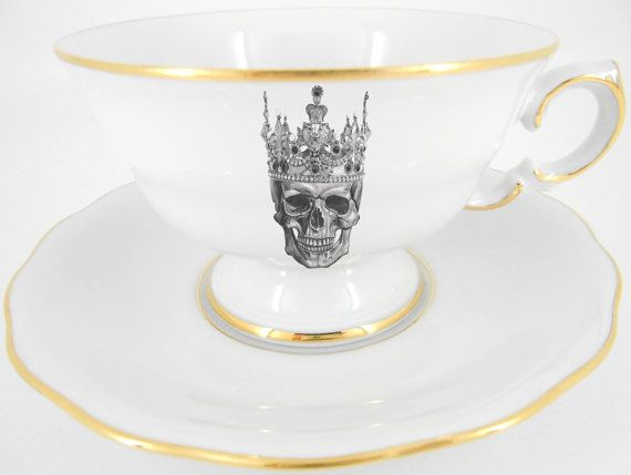 Two Gold Skull Tea Cup and Saucer Sets, Steampunk Teacups, Goth Tea Set, Skeleton Tea Cup