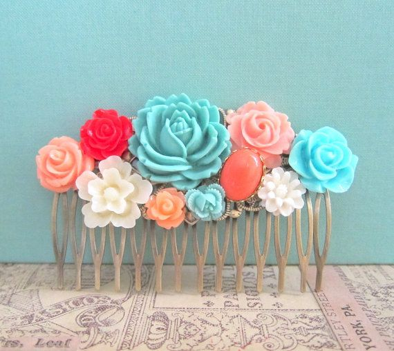 Coral Turquoise Hair Comb Wedding Hair Accessories Flower Bridesmaid Gift Orange Peach Red Blue Mint Bridal Floral Head Piece Autumn Fall