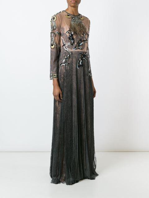 Valentino bird applique tulle evening dress