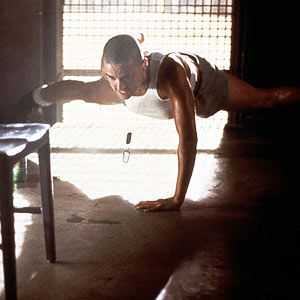 I hope to do one of these someday!! G.I. Jane doing one-arm push-ups!(Demi Moore in Navy SEAL training) Hoo-rah!