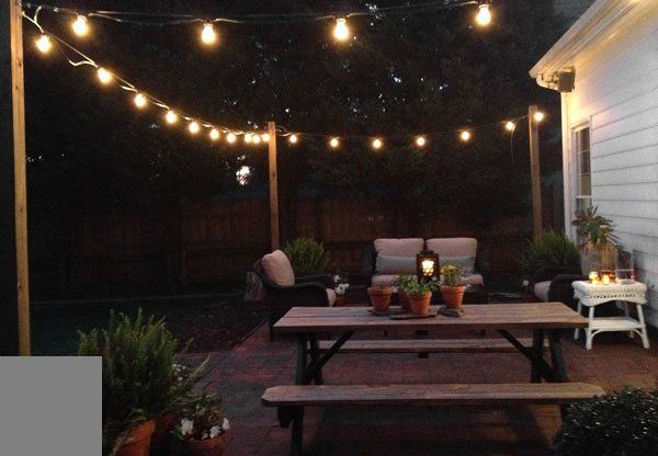String Lights Across Patio : 17 Best images about Backyard on Pinterest String lights, Backyards and Deck box