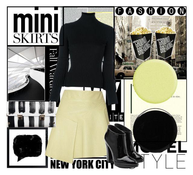 """Mini skirt"" by tiraboschi-b ❤ liked on Polyvore featuring 10 Crosby Derek Lam, Deborah Lippmann, Salvatore Ferragamo, Spanaki, Monday and Giuseppe Zanotti"