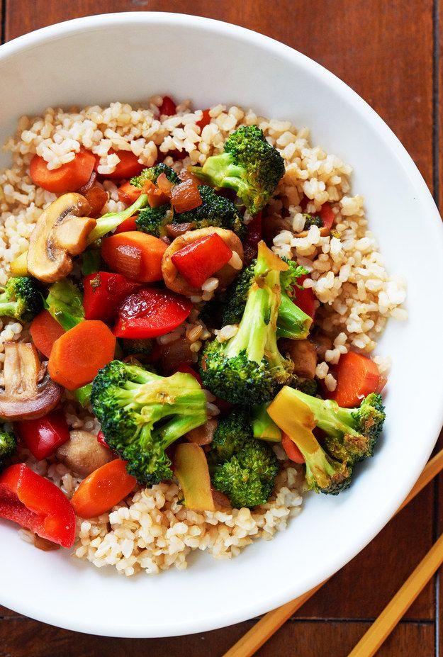 Serve the stir-fried vegetables over rice and enjoy!