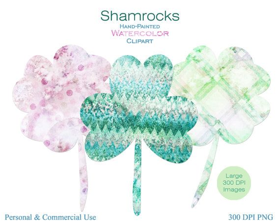 WATERCOLOR SHAMROCKS Clipart Commercial Use Clipart by ClipArtBrat