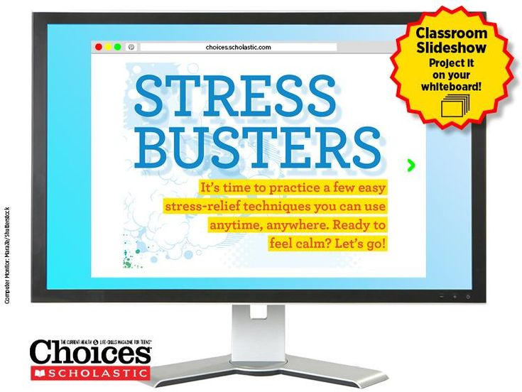 The best way for students to learn stress management is by practicing! This free slideshow features stress-relief techniques that are easy to learn, and teach independence. A quick lesson: Have teens break into groups in class and try for themselves! (You can try too!) | #teens #highschool #middleschool #freebie #activity #health #stress #relief #management #lesson #group #project #classroom #ideas #choicesmag