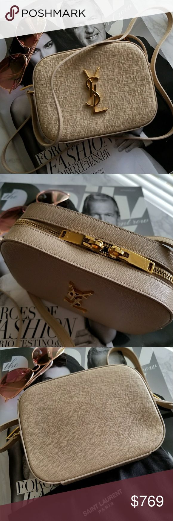 Saint Laurent Monogramme Grain Mini Bag 100% authentic saint laurent monogram mini bag. Crossbody. Nude poudre color. Has card compartments and a bigger one inside. Small and would fit only a small wallet like a card case style and an iphone (not the plus). I prefer wearing this out at night with just my cards, lipstick, keys and phone. Used a few times only. No scratches or scuffs. Comes with dust bag and the card that came with it. Saint Laurent Bags Mini Bags