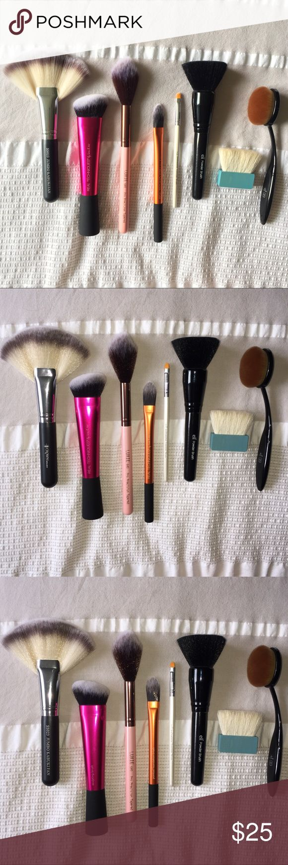 Makeup Brush Bundle From left to right:  Crown SS023 Jumbo Kabuki Fan Brush, Real Techniques Sculpting Brush, Luxie Beauty 640 Pro Precision Tapered Brush, Real Techniques Pointed Foundation Brush, elf Concealer Brush, elf Powder Brush, Benefit Hoola Bronzer Brush, Crown Pro Round Contour Brush Makeup Brushes & Tools