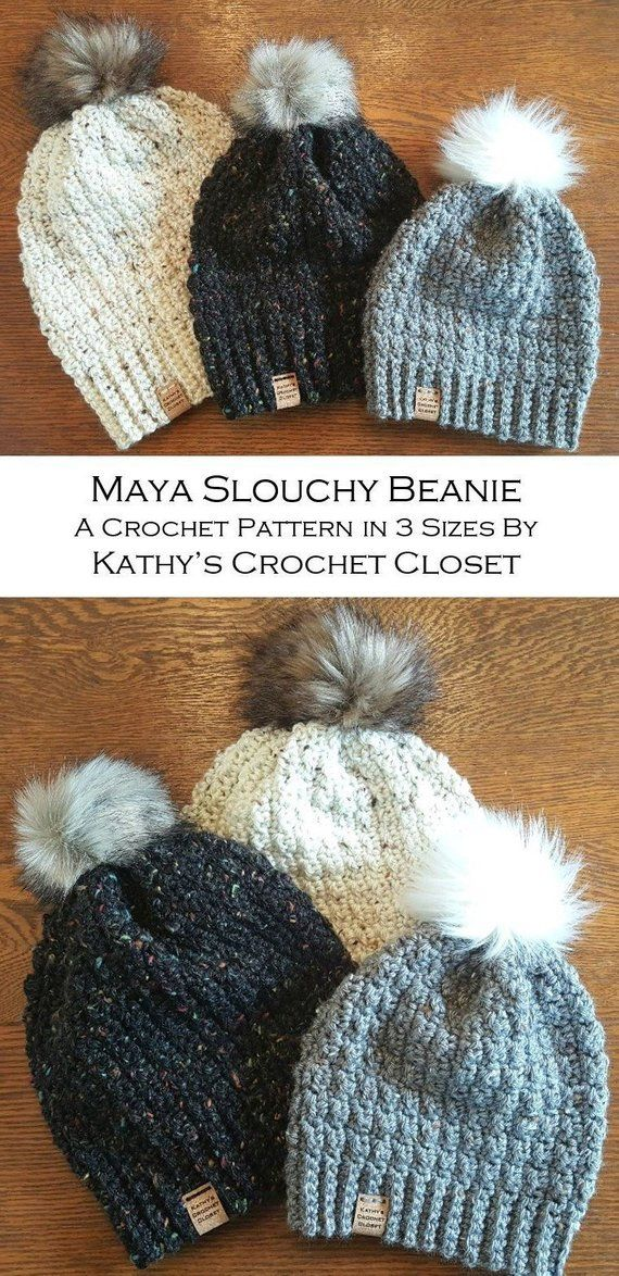 a8ca7150b7b Crochet PATTERN Maya Slouchy Beanie Hat Adult Child Toddler Size DIY ...