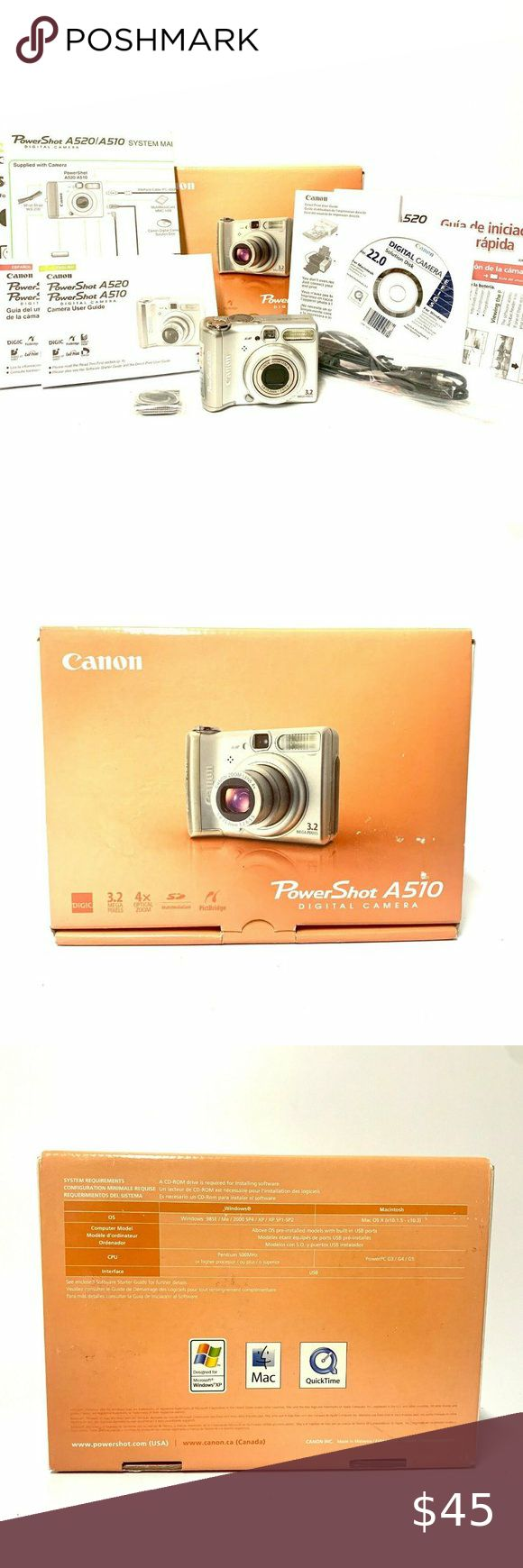 Canon Powershot A510 Digital Camera Iob W Manuals Thanks For Your Interest In This Canon Digital Camera Canon Powersh Canon Powershot Powershot Digital Camera
